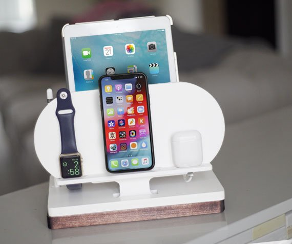 NytStnd AIR (Cube)   Charges an iPhone 8, X, XS, XS Max & XR, Apple Watch, AirPods & an iPad with an Apple Pencil holder! White and Midnight versions are within the listing.