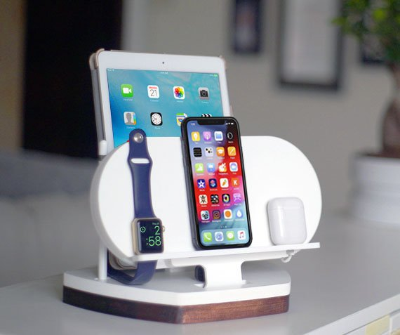 NytStnd AIR (Diamond)   Charges an iPhone 8, X, XS, XS Max & XR, Apple Watch, AirPods & an iPad with an Apple Pencil holder! White and Midnight versions are within the listing.