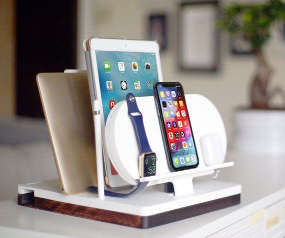 DskStnd AIR   Charges an iPhone 8, X, XS, XS Max & XR, Apple Watch, AirPods, iPad, Apple Pencil holder, Mac/PC Holder with a tray area for a wallet, keys, etc! White and Midnight versions are within the listing.