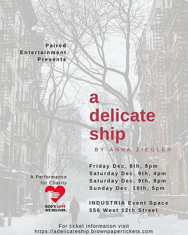 Please, please join us for a theater performance at 356 West 12th St. #IndustriaNYC - all proceeds will be donated to the wonderful @godslovenyc!  Link to purchase and more info in our bio.