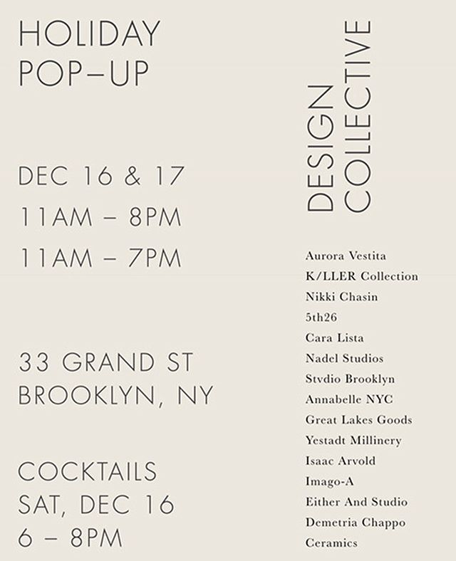 We're very excited for this weekend's pop up shop at our 33 Grand St studio in Williamsburg ✨ #IndustriaBK 🙌 @annabelleblankcanvas @auroravestita @kller_collection @caralista @mosesnadel @demedemedeme @__eitherand @thegreatlakesgoods @stvdiobrooklyn @5th26 @yestadtmillinery @imago_a @omgnikkic @artisbad