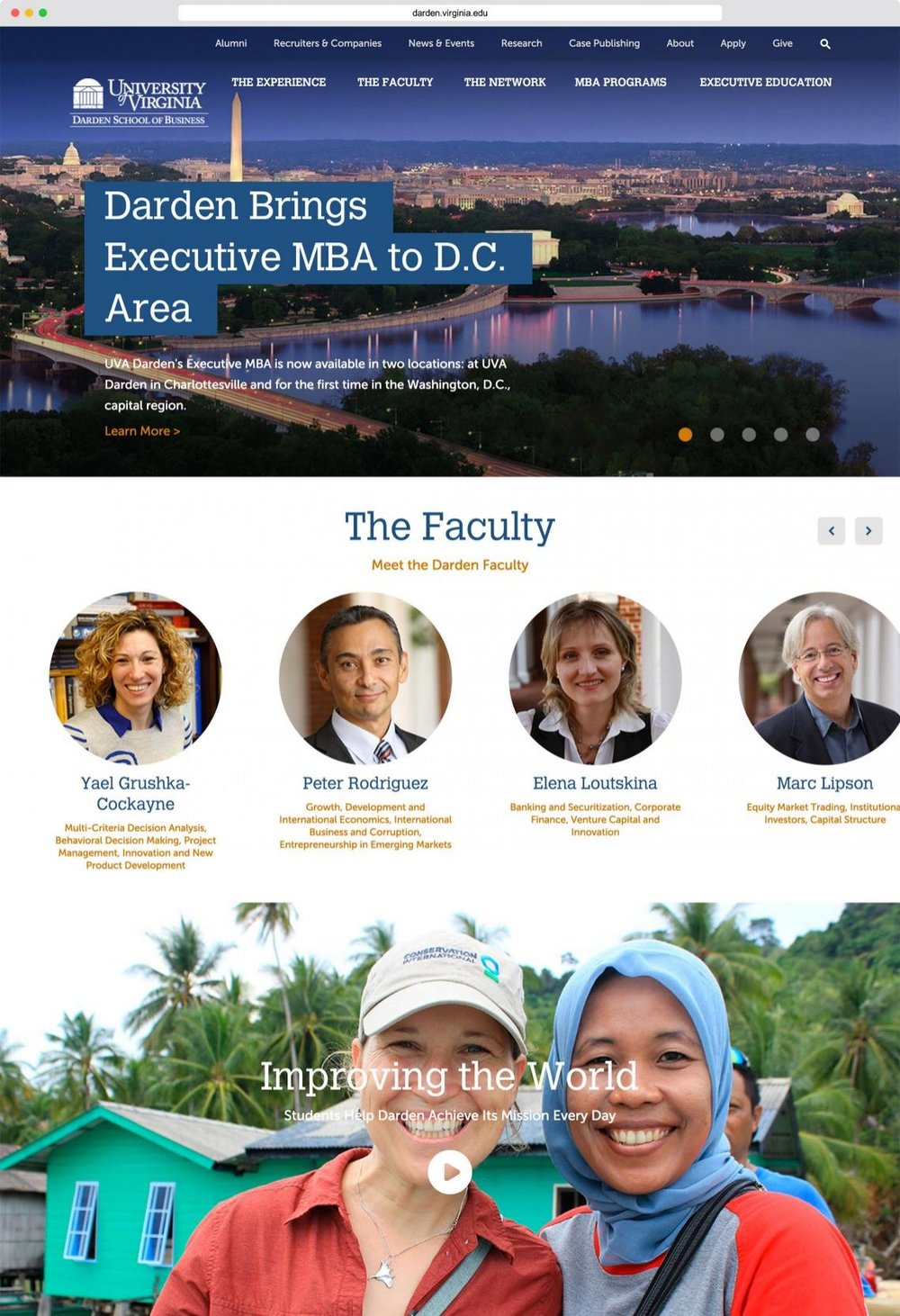 Website Redesign: University of Virginia Darden School of Business  - Project manager and content owner for a responsive website redesign for the U.Va. Darden School of Business. Primary role consisted of managing vendor and stakeholder relations throughout discovery and design phases. Managed discovery and design timeline; facilitated meetings with and consolidated feedback from over 20 stakeholders from different departments, including senior leadership; and oversaw copywriting and UX testing in the MBA section of the website (over 750 webpages).Also project managed website redesigns for 2012 Nobel Laureate Lars Peter Hansen and the Grant Park Music Festival.