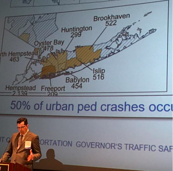 Pedestrian Safety Action Plan - GTSC workshop updating people actively working on pedestrian and traffic safety education, law enforcement, engineering and planning on the current status of the GTSC Pedestrian Safety Action Plan (PSAP) a 5-yr plan to attack NY's pedestrian fatalities focused on high crash locations. Hempstead leads the state, outside NYC, in pedestrian fatalities- and the other municipalities listed in this photo are on the top 20 list. But we aren't just talking about this- we are actively working to eliminate fatalities through education, changing policy (successfully reducing speed limits and strengthening traffic laws) and culture. In Long Island, LI Streets has been engaging local communities and working with our partners at the Nassau Traffic Safety Board, NY Coalition for Transportation Safety and injury prevention specialists on meaningful education events over the past year+ with PSAP materials and we have begun incorporating the campaign into our law lectures, which you can hear at the inaugural Walk-Bike Nassau Summit, June 5th in Westbury.