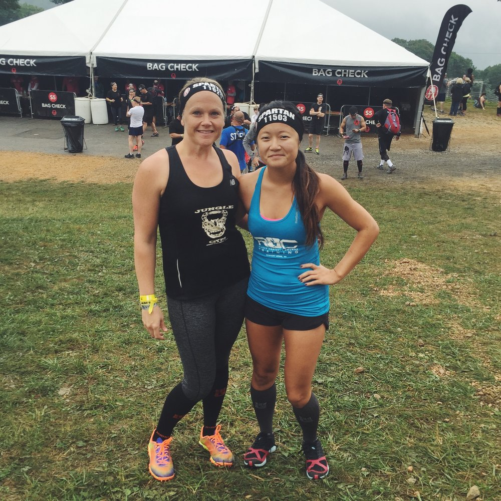 Me and my Spartan buddy Cheryl before the race started. Notice how clean we look??