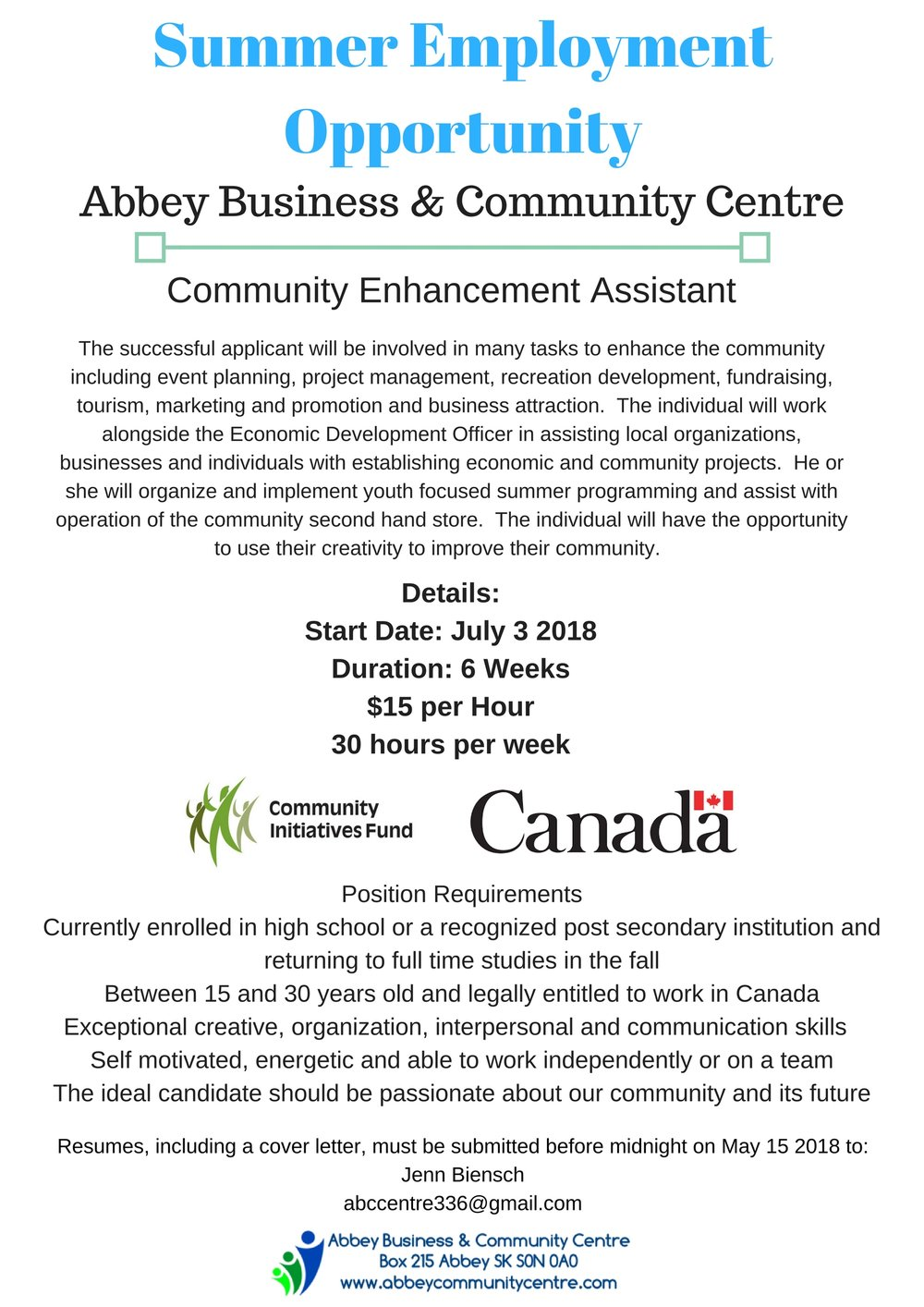 Summer Employment Opportunity- Abbey SKVillage of Abbey and Abbey Business & Community Centre.jpg