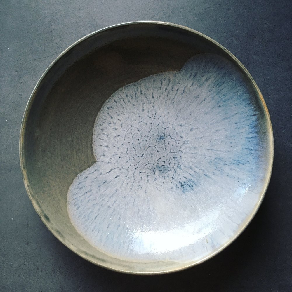 "Pasta plate   Pasta plate ""Cloud"" with two different ash glazes, Nuka and Berlin.  Ø 19cm - €25"