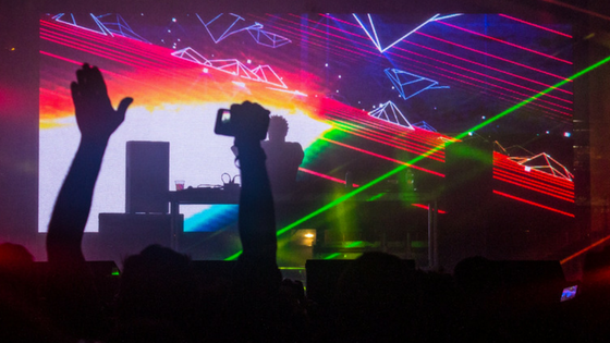 Flying Lotus had an amazing set with a 3-D backdrop!