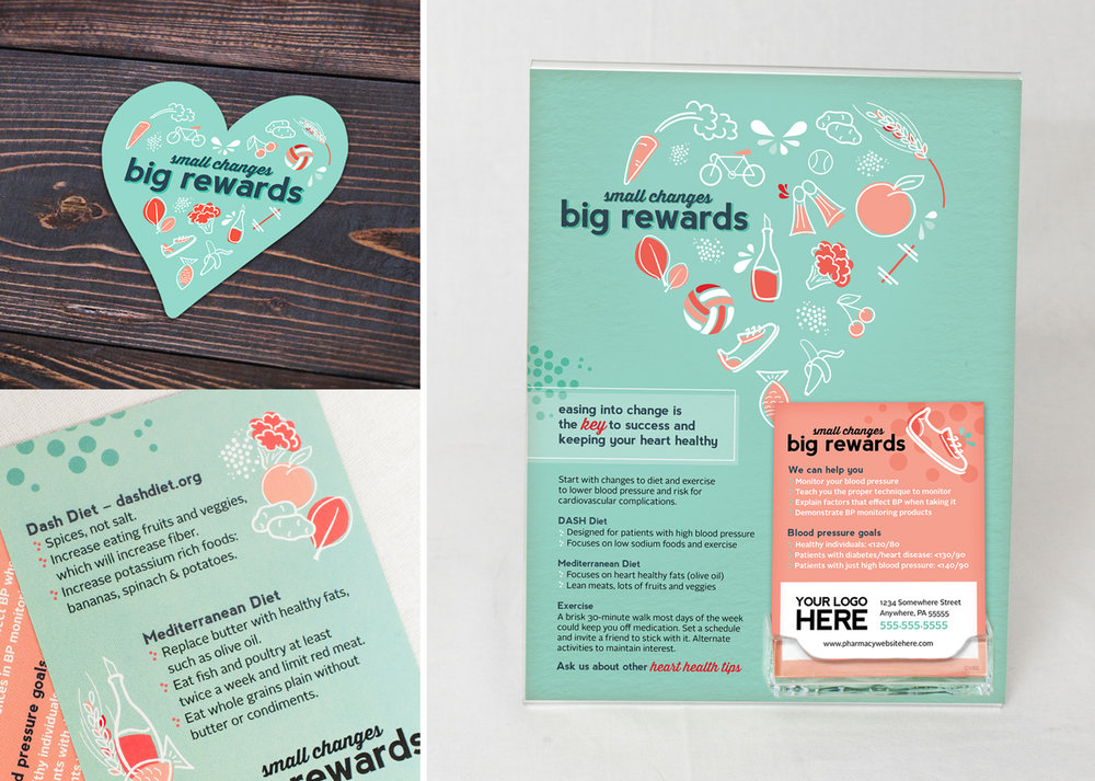 Heart Healthy Counter Cards and Sticker
