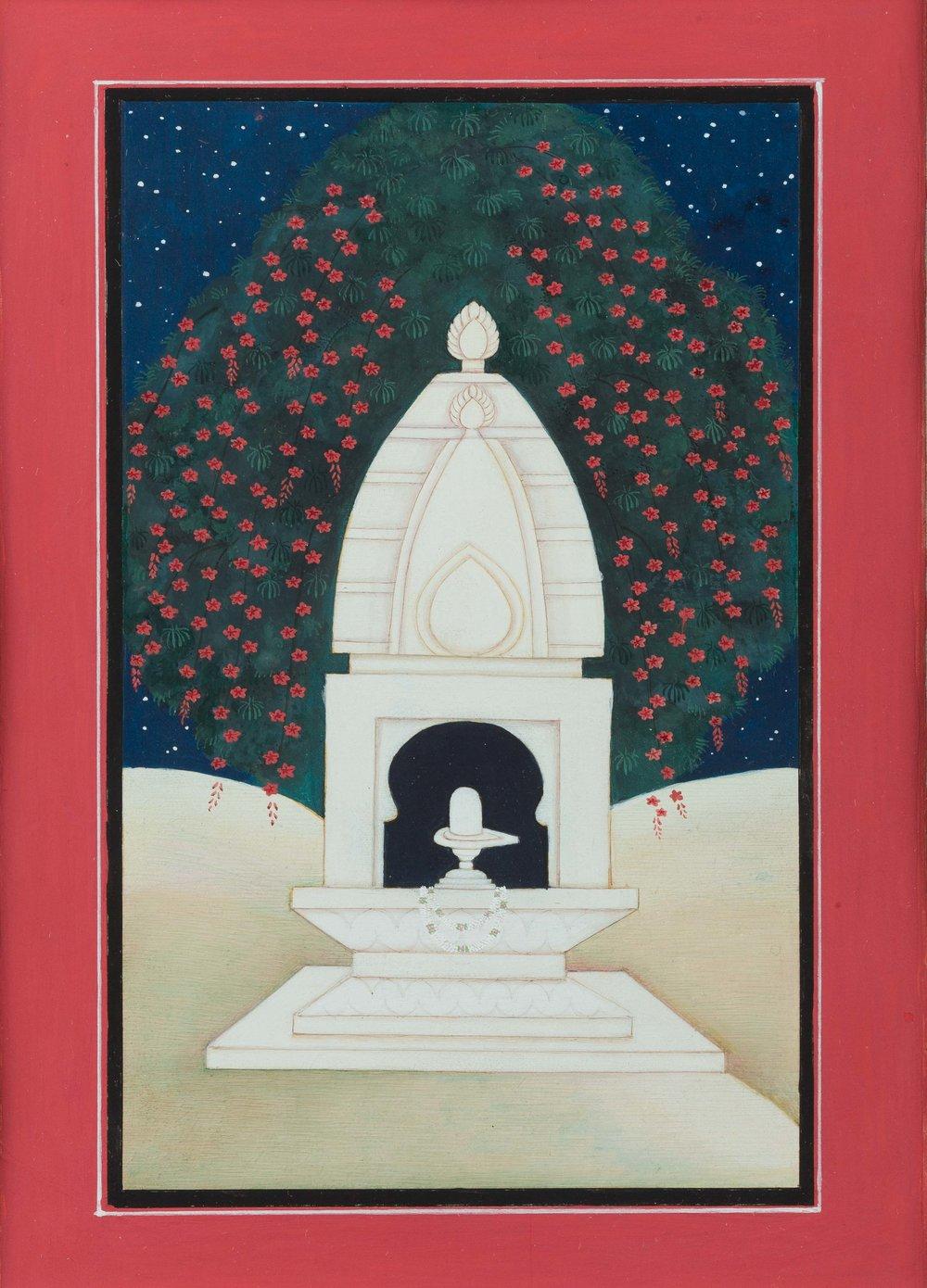 "Susana Marin ,Shiva Lingam, Gouache on Vasli, 2016, 11"" x 14"""