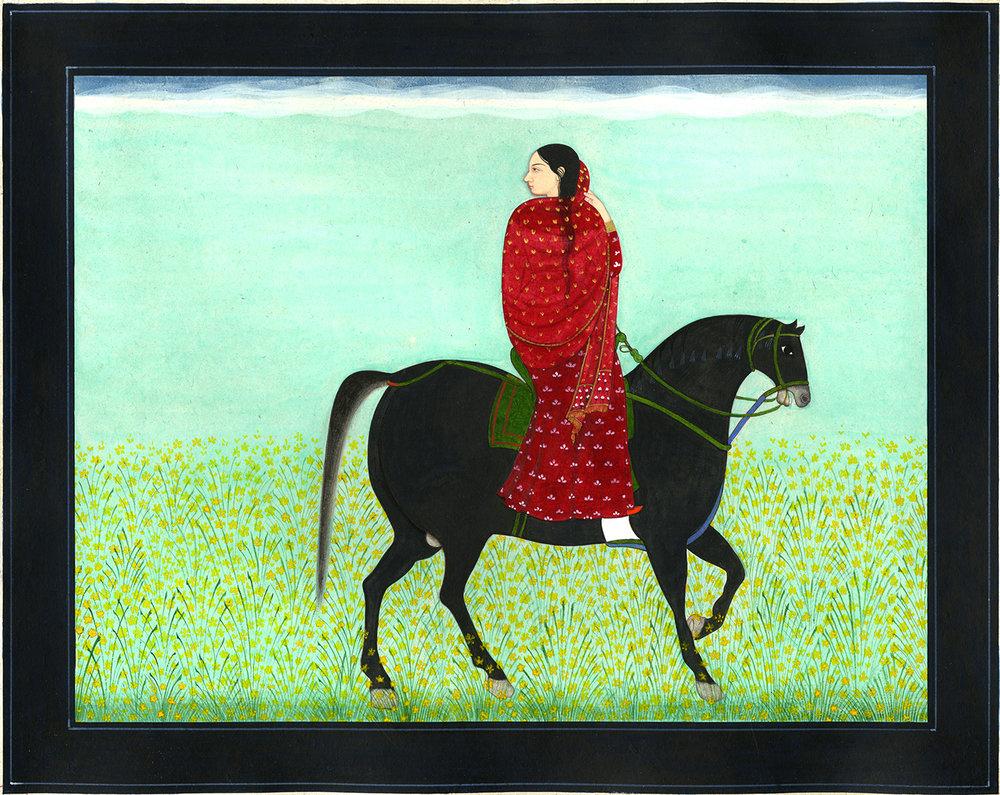 "Murad Khan Mumtaz,Departure,Gouache on Vasli, 2016, 11"" x 9"""