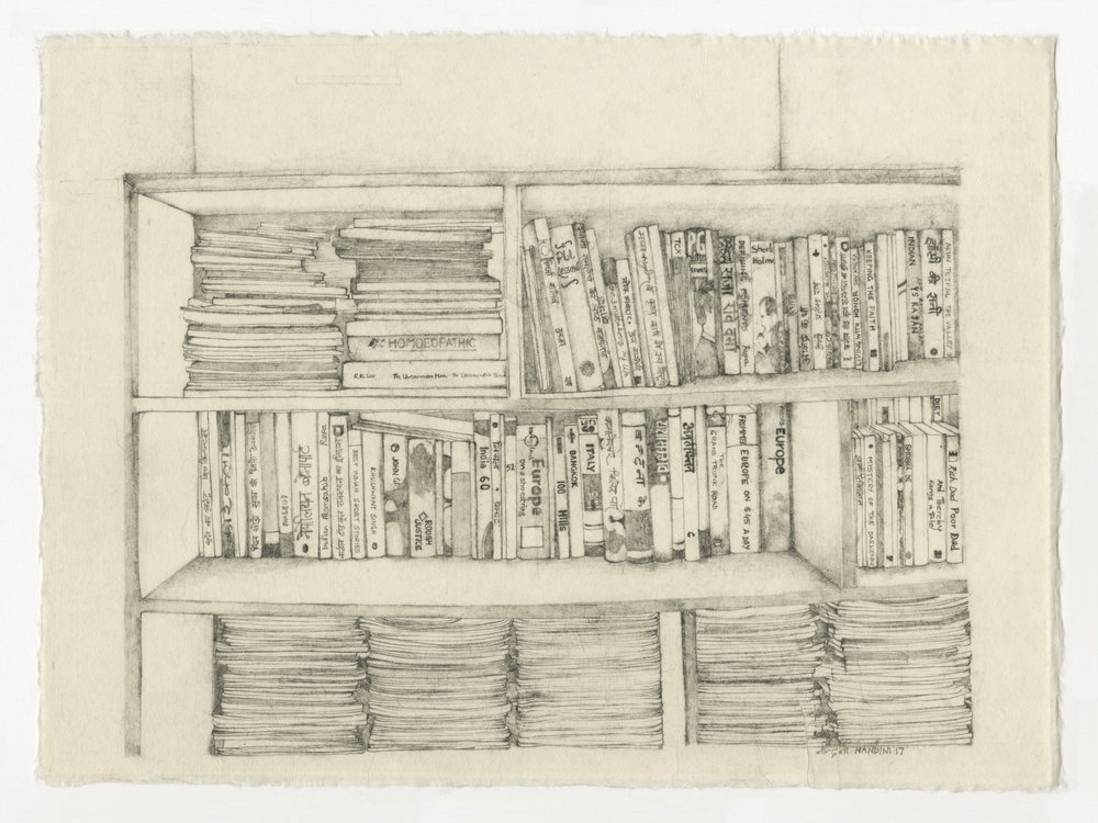 Nandini Chirimar, Unwritten Wills, pencil on Japanese Kozo paper 2017, 12 x 16""