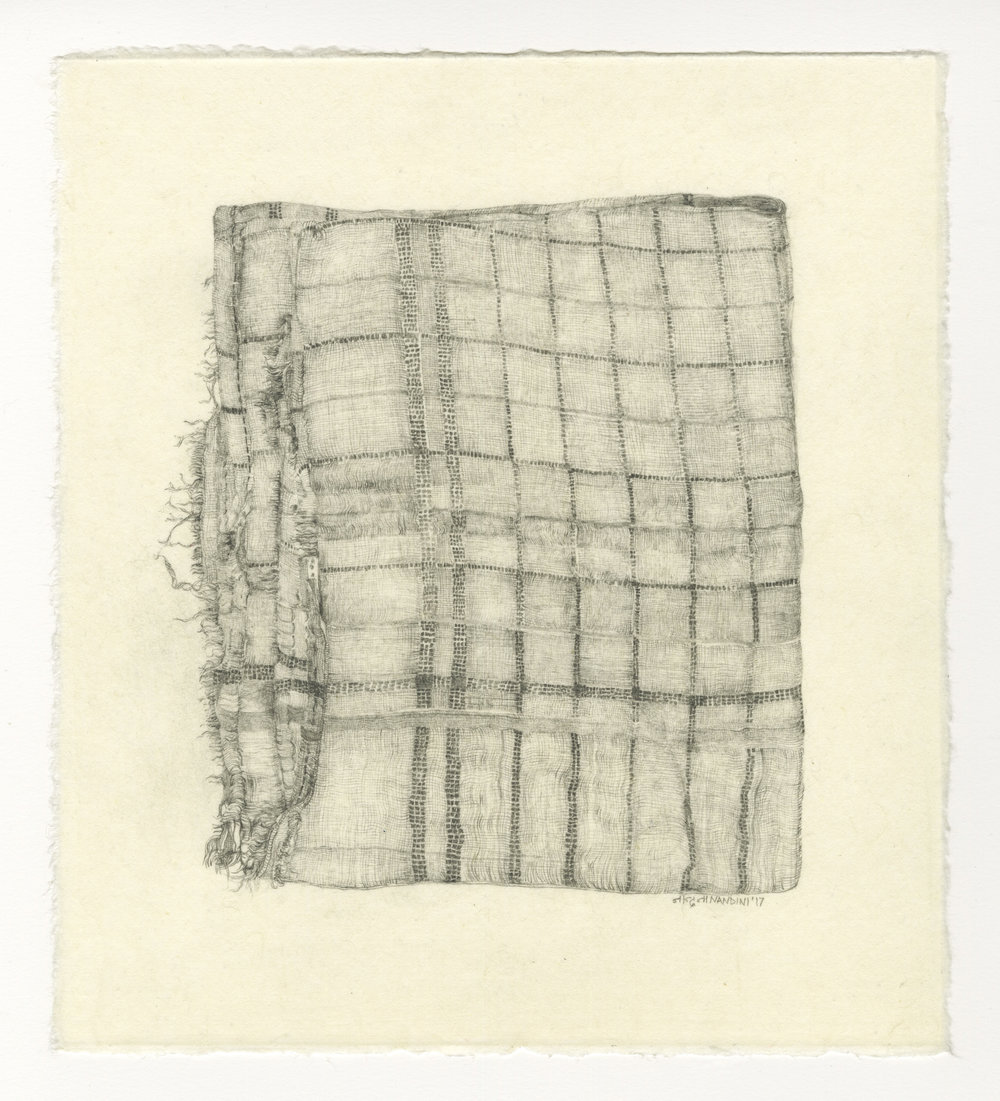 Nandini Chirimar, One of Her Napkins, pencil on Japanese Kozo paper 2017 11 x 10""
