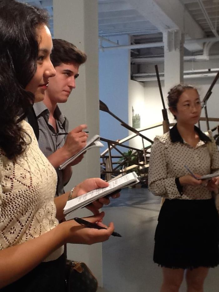 ARTnews interns on the job at Larissa Goldston Gallery