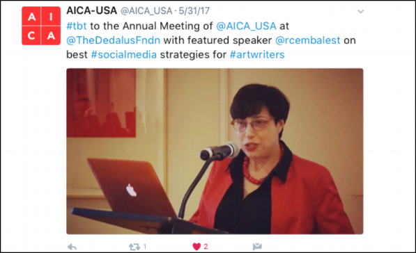 Robin Cembalest AICA social media lecture