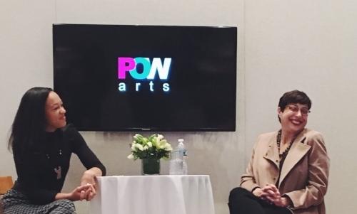Morgan Fletcher and Robin Cembalest at POWarts breakfast, December 13, 2017. Photo: Nora Gomez