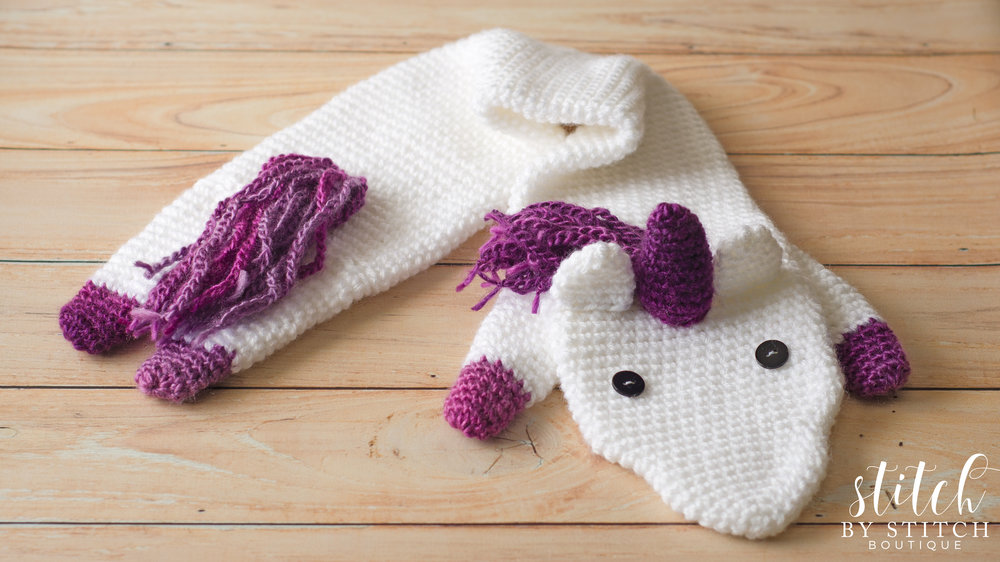 Free Crochet Unicorn Fever Scarf Pattern