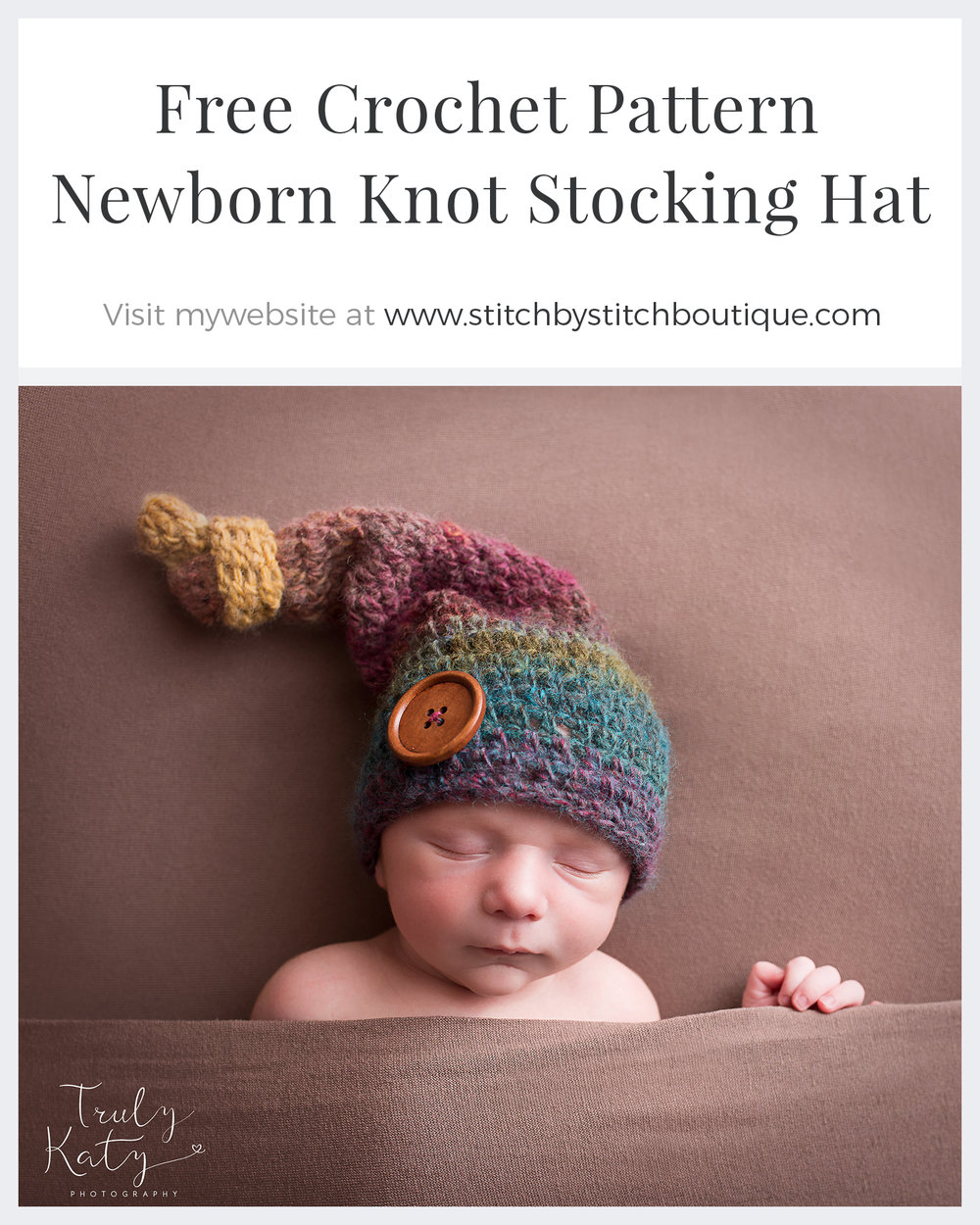 Free Crochet Newborn Knot Stocking Hat Pattern