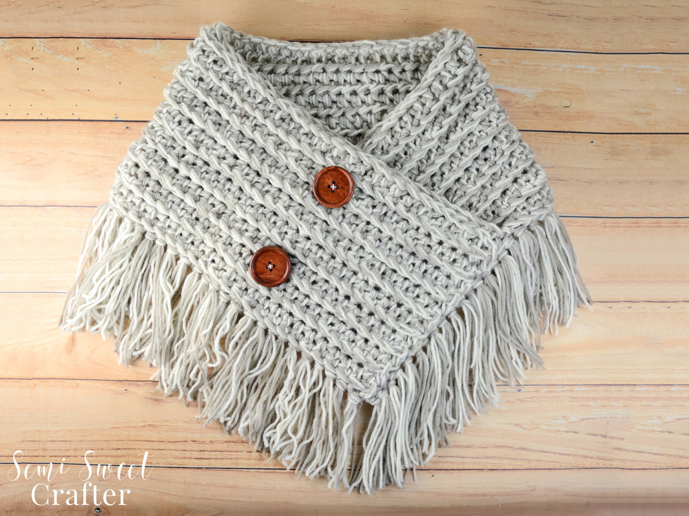 Free Crochet Ribbed Fringe Cowl Pattern