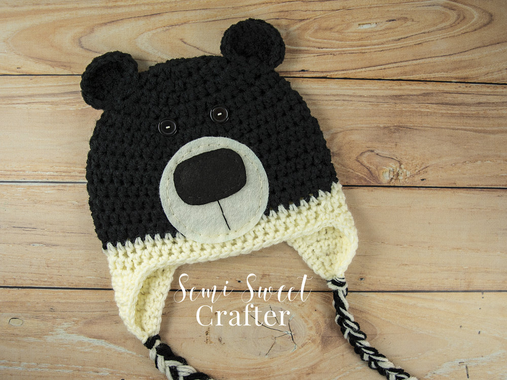 Free Crochet Black Bear Hat Pattern
