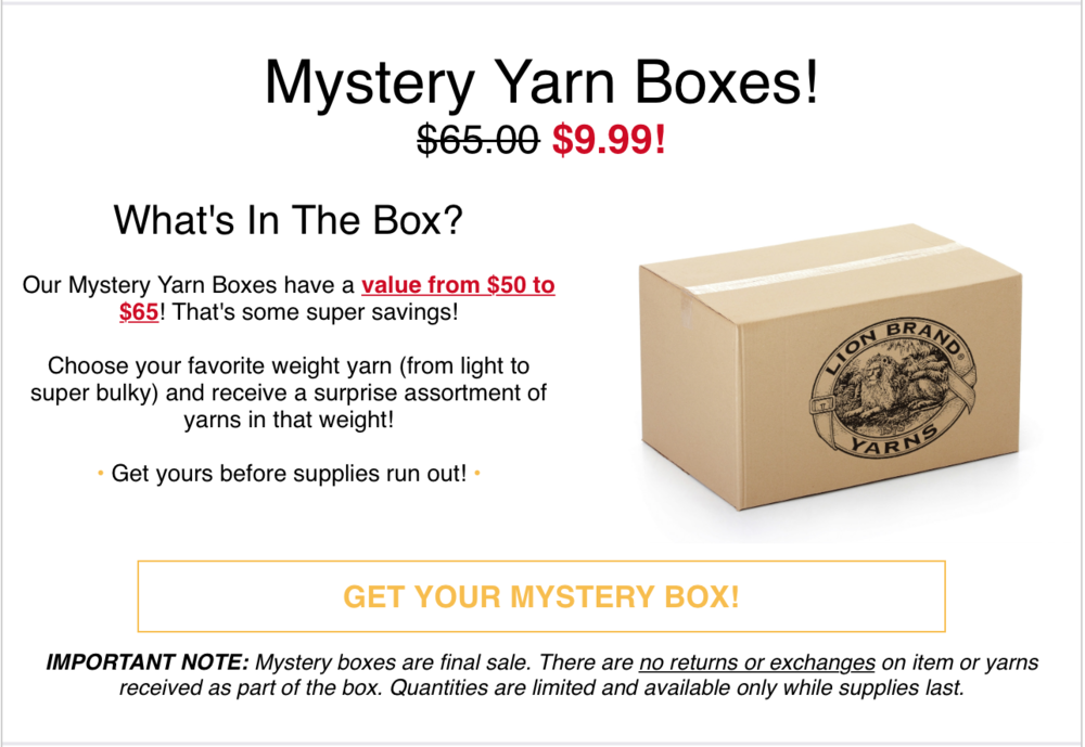 Lion Brand Yarn Mystery Box Unboxing