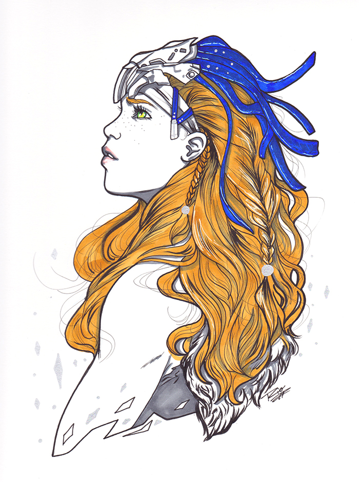 Copic Sketch - Sketch created with copic markers/liners, limited colour, small metallic touches. $100 + Shipping