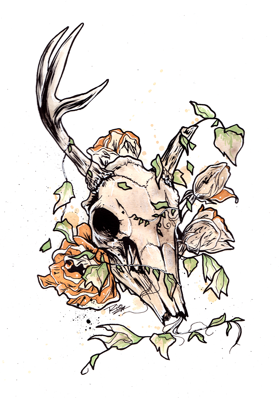 Ink and Tea Spirits - Animal Skull + Plant of your choice Painted with tea and ink. Limited colour, shadows, and highlights added with ink. $100