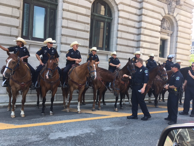 Some of Texas' mounted police in Cleveland