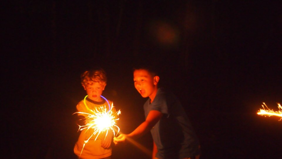 Nephews with sparklers, photo taken by my sister Kaley | Smith Mountain Lake, 2014