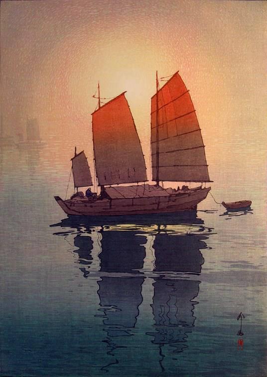 Sailing boats, morning, b  y Hiroshi Yoshida, from Japan (1876 - 1950)  [Woodblock print] -  source