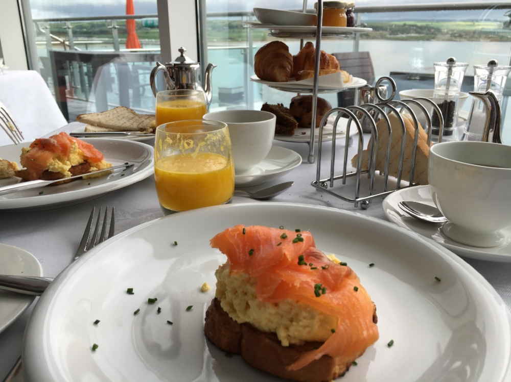 smoked salmon & eggs on toast with fresh squeezed orange juice, cliff house hotel, ardmore, co. waterford (our one night luxury hotel splurge)