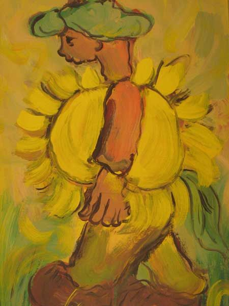 MAN WITH SUNFLOWER by   Frans Claerhout (Belgian/South African, 1919–2006)  SOURCE