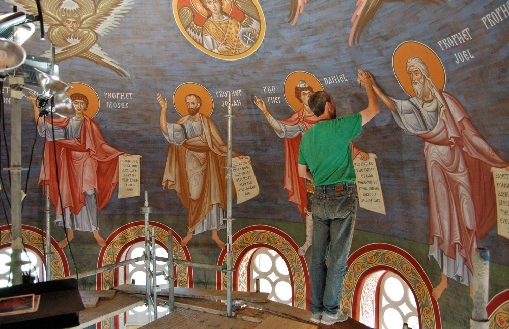 Vladimir Grygorenko painting the prophets (source)