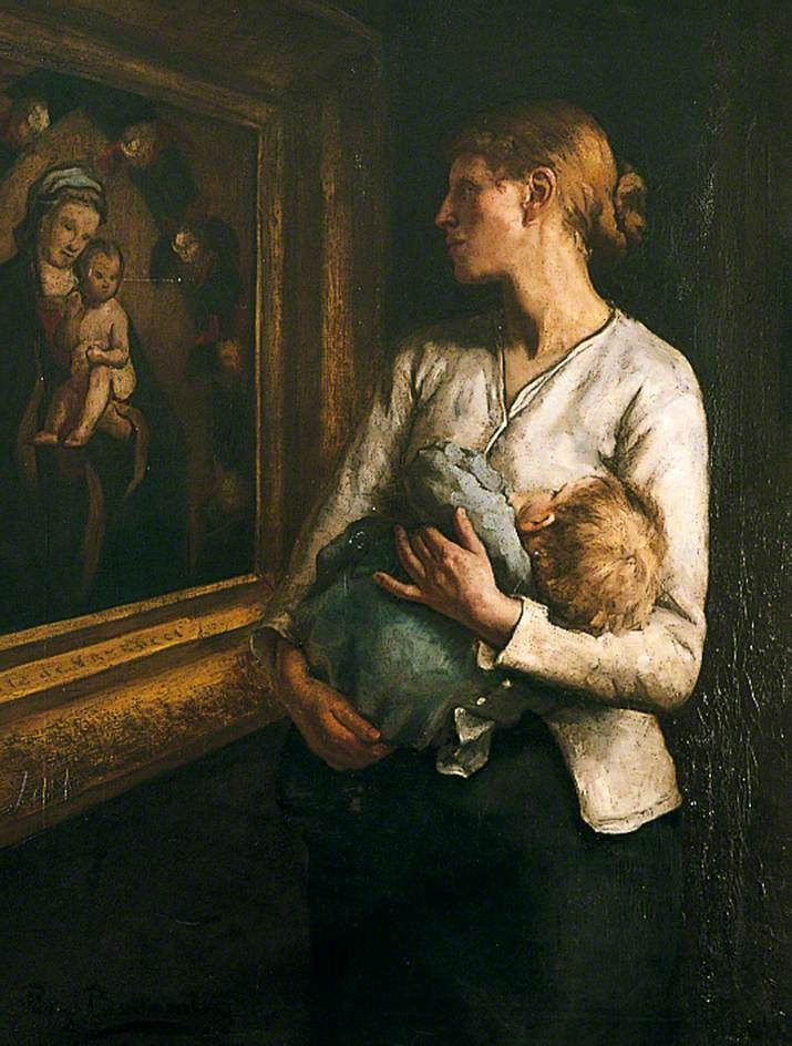mother and child looking at the virgin and child  by reginald bottomley ( source )