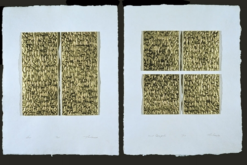 TODAY'S IMAGE: LAW AND GOSPEL BY SANDRA BOWDEN  ( SOURCE )  THE RICH SURFACE IS A HEBREW TEXT FROM THE TEN COMMANDMENTS, CREATED BY LAYERING GOLD LEAFING ON THE COLLAGRAPH PRINT, THEN ADDING COLORED IRIDESCENT CRAYPAS TO THE RAISED AREAS. WITH ONE ADDITIONAL HORIZONTAL CUT, THE TABLETS OF THE LAW BECOME FOUR QUADRANTS, SUGGESTING A CROSS