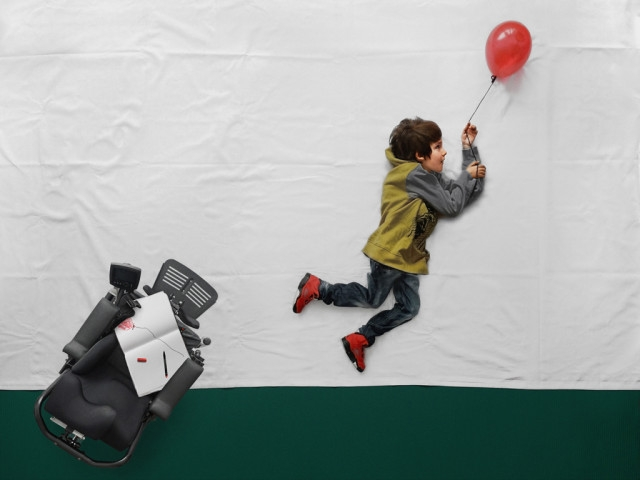 Photographer Takes A Boy With Muscular Dystrophy On An Imaginary Adventure , Matej Peljhan ( source )