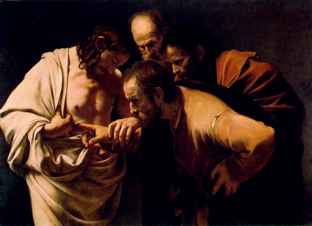 The Incredulity of Saint Thomas  by Caravaggio ( source )