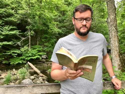 We carry the Wendell Berry poems with us everywhere we go this summer. Here Brian's reading during our hike at Kent Falls State Park.