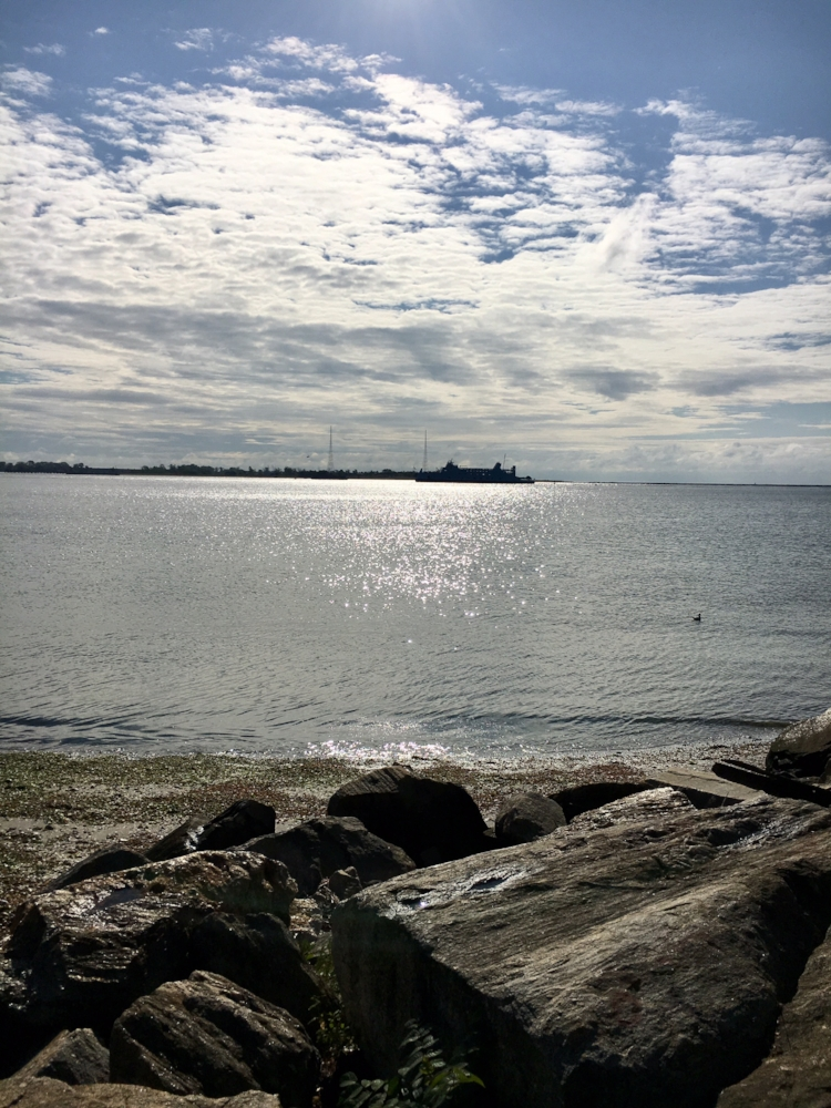 Morning Prayer at Seaside Park, Bridgeport (that's the Long Island Ferry)