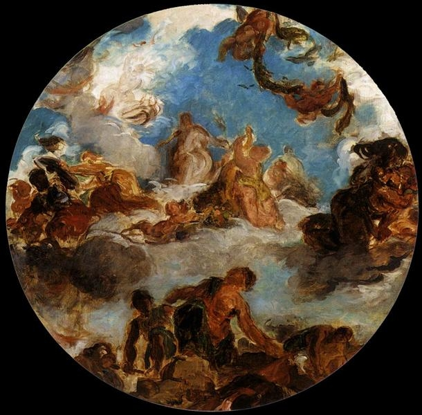 Sketch for Peace Descends to Earth  by Eugene Delacroix ( source )