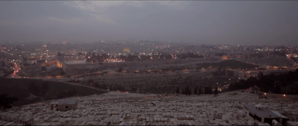 "Jerusalem and surrounding areas, screenshot from the music video by The Brilliance, ""Yahweh"""