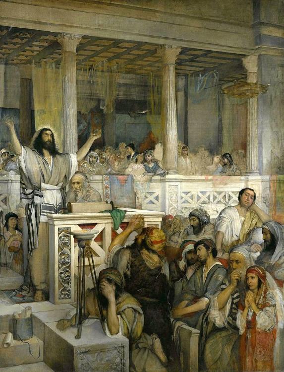 Christ Preaching at Capernaum , Maurycy Gottlieb,1856-1879 (source)