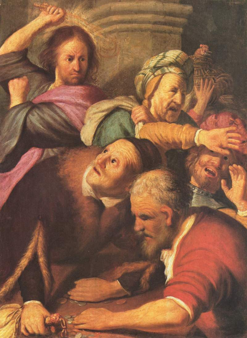 Christ Driving the Moneychangers from the Temple , Rembrandt van Rijn ( source )
