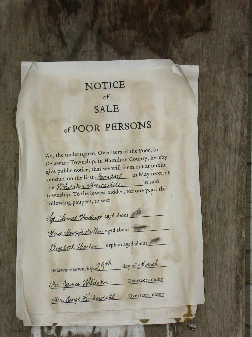 "This notice of sale is described: ""Paupers would be sold at auction to the lowest bidder. Basically, a bidder would take out a contract to house, cloth and feed the person and in return they would work for one year to pay the debt."" ( source )"
