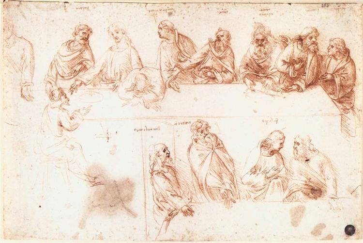 Study for the Last Supper  by Leonardo da Vinci ( source )