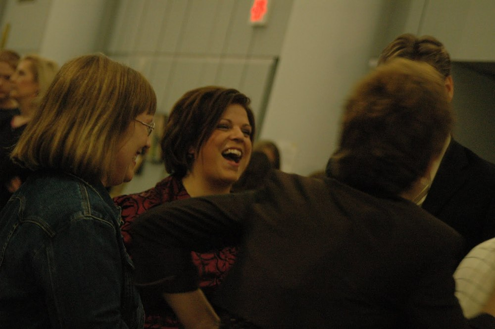 9 years ago - A favorite photo of my friend Margaret and me enjoying the company of our recital musicians, Scott & Kim LaGraff, at Art Show on Main. (Union Center Christian Church, Endicott, NY.)