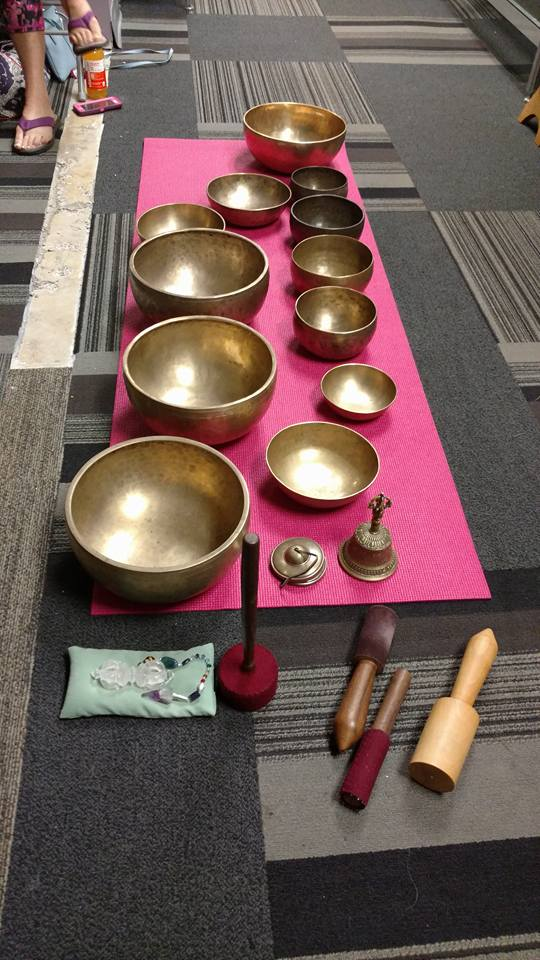 Some of the amazing singing bowls he has. He couldn't fit them all in the space we were in.