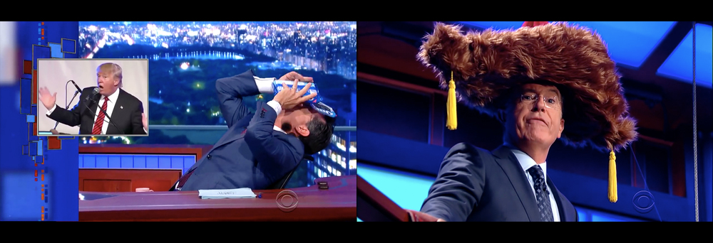 Two of Colbert's already viral skits