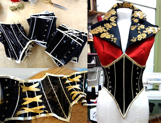 Cirque Corsets - Cirque - Costume World, 2017Working to Costume Worlds original designs we created 24 custom corsets based on our original, graded pattern. Each were made to measurements given, working with fabrics supplied. Both male and female corsets were created with gold and silver piping detail, crystals and side eyelet/lacing design.Production starts at £145 + fabrics with a 2 to 3 week turnaround. Orders of 10 or more will reduce the cost.