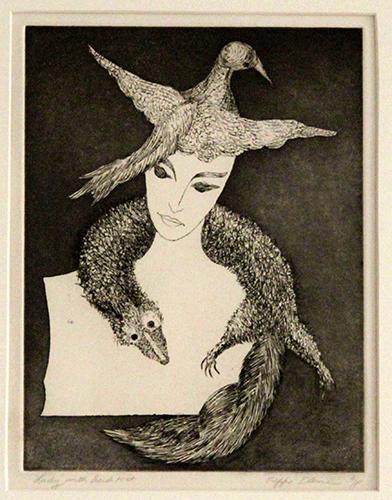 Lady With Bird Hat (Original)  12 X 9