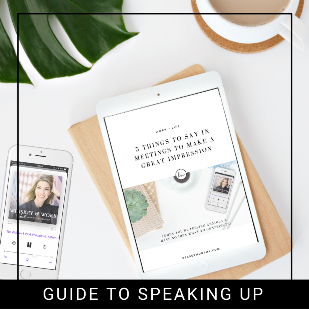 FREE  GUIDE FOR THINGS TO SAY IN MEETINGS TO MAKE A GREAT IMPRESSION   - Gain 5 ways to speak up in meetings when you're feeling anxious & have no idea what to contribute.